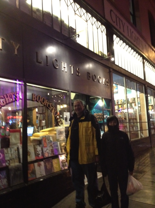 Finishing up a successful evening at the City Lights Bookstore in San Francisco.